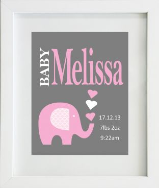 Personalised Baby Girl Birth Statistics with Pink Elephant Print